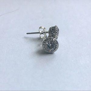 Sterling Silver & CZ Decorative Set Stud Earrings